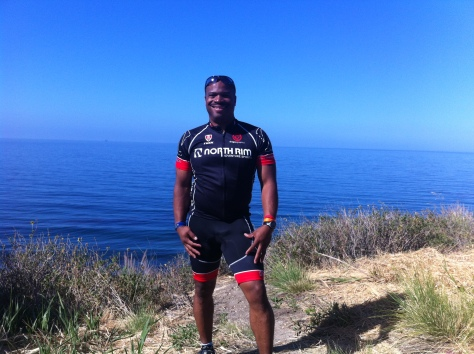 Tray Robinson in front of the Pacific Coastline