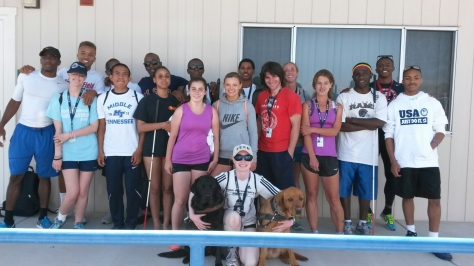 Crosby (front, center) with her group at the US Paralympic Team Training Center