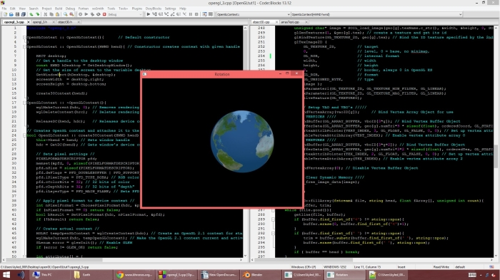 Senior Kyle Brownell uses C++ code to model 3-D renderngs of the Earth's rotations.