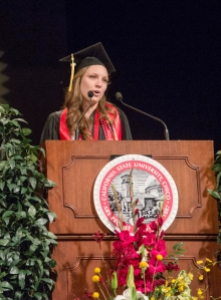 Taylor Herren gives the Reflections speech at the College of Agriculture Commencement in May 2014.