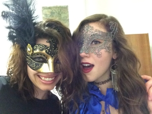 Quinn Western and her roommate Sara McGuire, both Chico State students, celebrating carnevale in Venice, Italy. Masks, capes, and all.