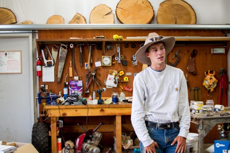 Kohner Vulgrenes, a land steward, in the reserve workshop.
